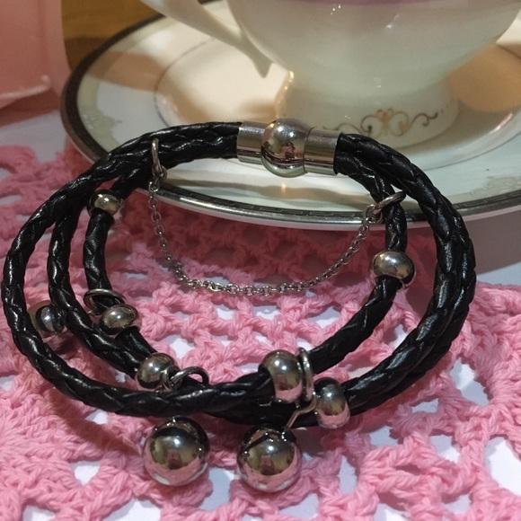 QVC Black Braided Leather bracelet Boutique